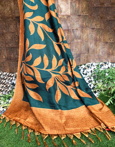 Leafy Orange Art Silk Dupatta