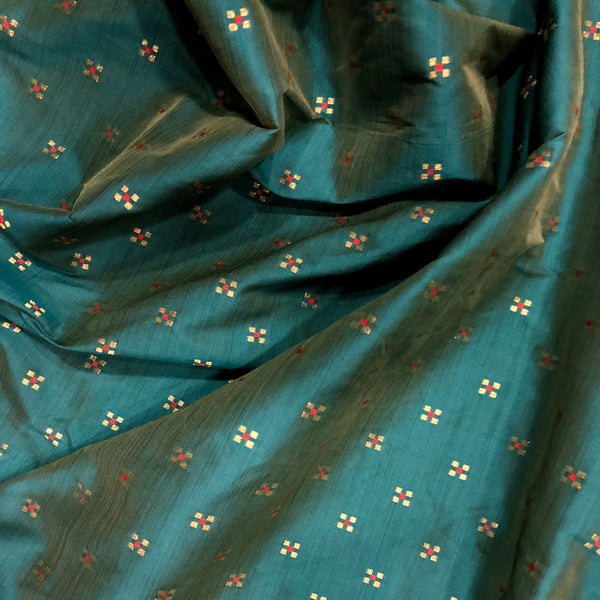 Teal Blue Brocade Print