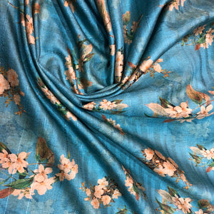 blue-tussar-fabric-online-with-rose-print-in-India