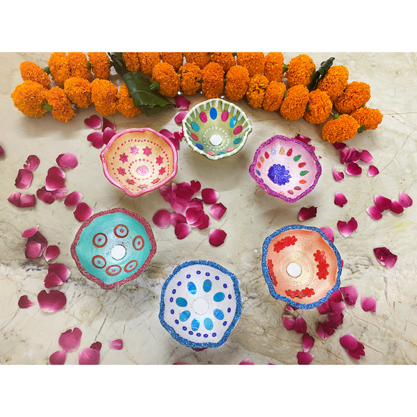 Embellished Hand Painted Diyas (Set of 12)