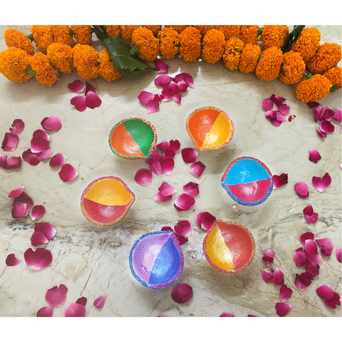 Hand Painted Diyas (Set of 12)