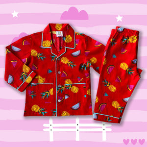 pineapple-print-red-nightsuit-for-girls