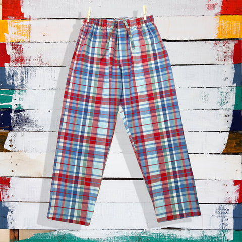red-abd-blue-check-print-women's-pyjamas-with-pockets