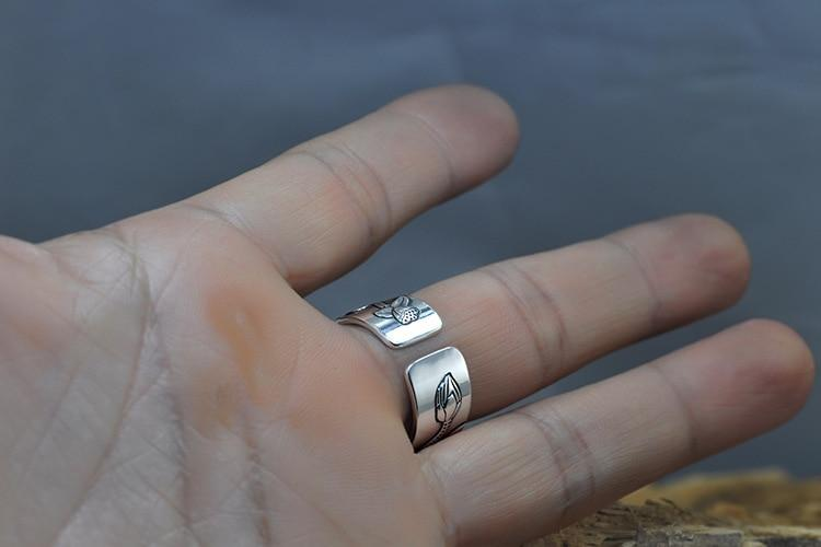 Gorgeous Lotus Ring Sterling Silver Unisex