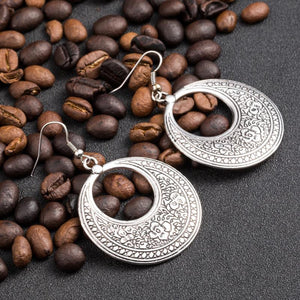 Indian Round Drop Earrings In Silver Or Golden