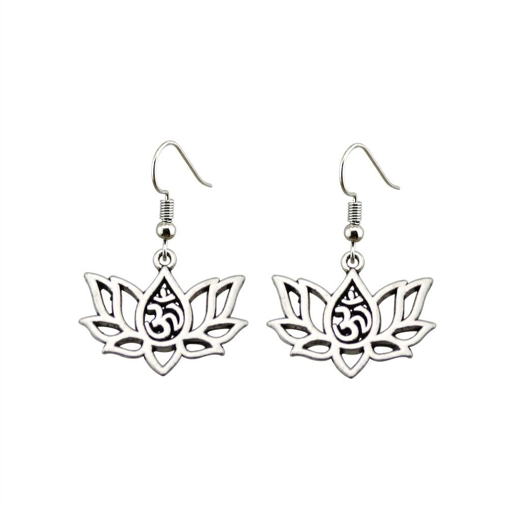Lotus Flower OM Drop Earrings