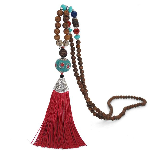 Nepalese Red Tassel Handmade Necklace