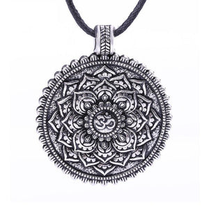 OM Mandala Pendant Necklace In Silver Or Bronze