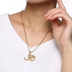 OM Pendant Necklace In Golden Or Silver