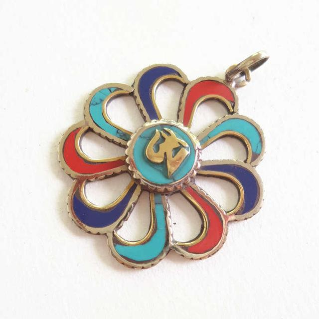 Tibetan OM & Buddha Eye Flower Pendants