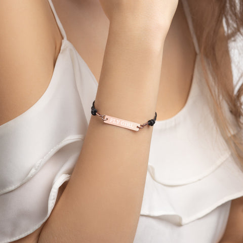 Fly Girl Engraved Silver Bar String Bracelet