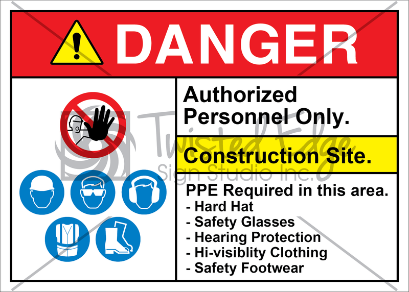 Construction Site PPE Required Hat Glasses Protection Clothing Footwear
