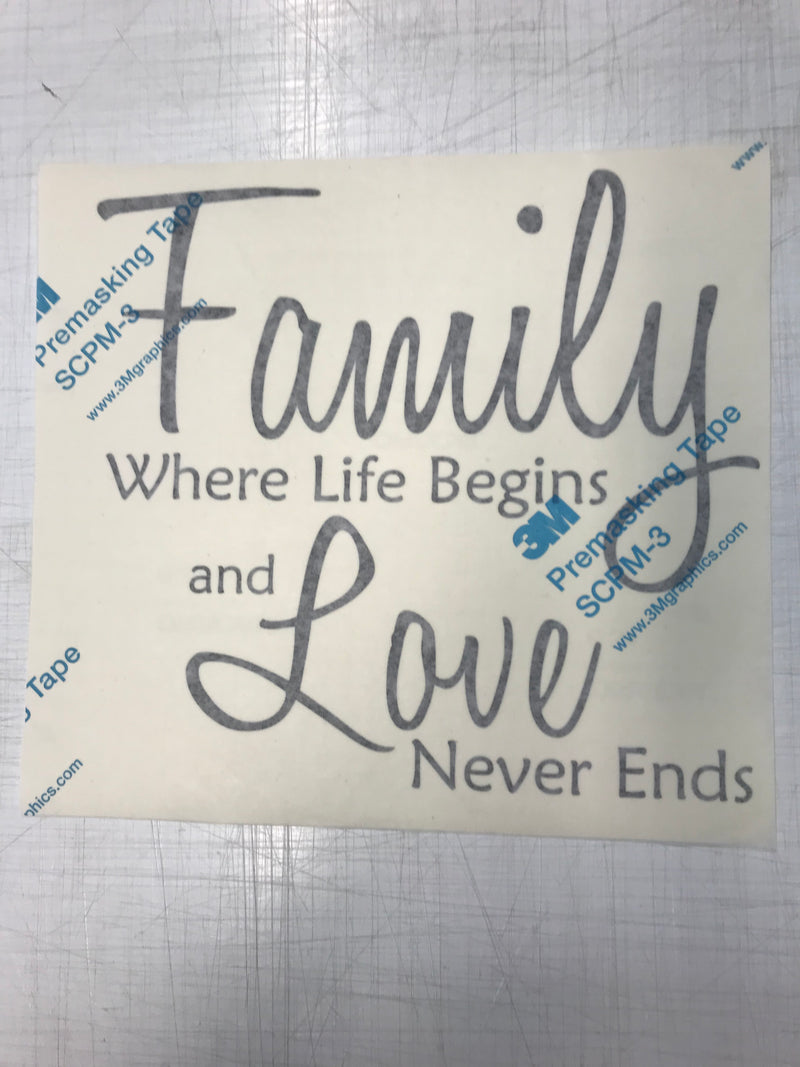 Family Where Life Begins and Love Never Ends Premasked