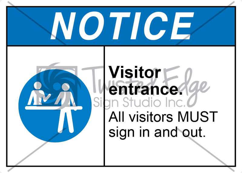 Safety Sign Notice Visitor Entrance Sign In and Out