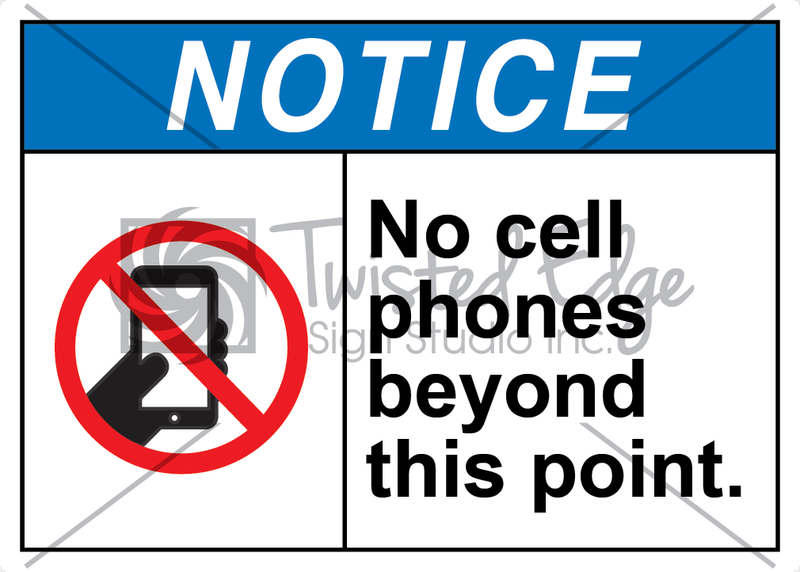 Safety Sign Notice No Cell Phones