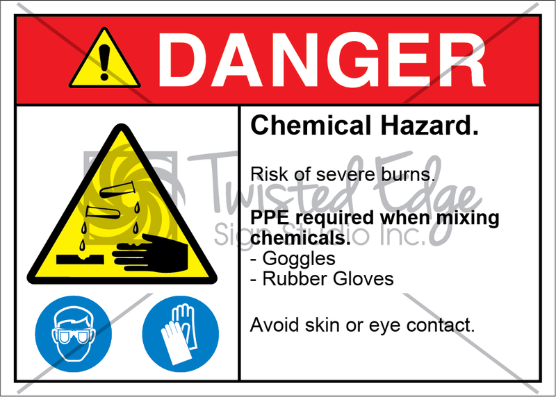 Safety Sign Danger Chemical Hazard Goggles Rubber Gloves