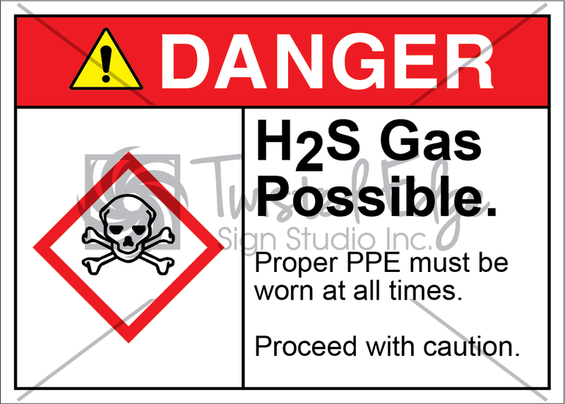 Safety Sign Danger H2S Gas Possible
