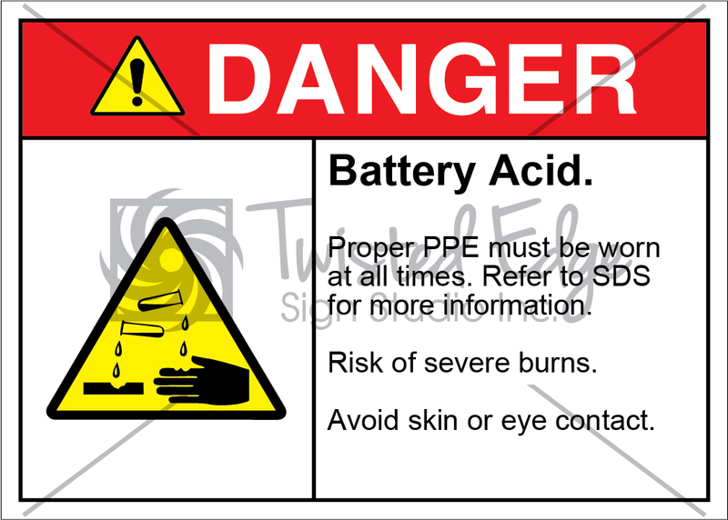 Safety Sign Danger Battery Acid