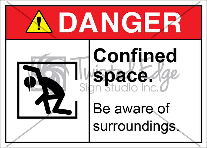 Safety Sign Danger Confined Space Be Aware of Surroundings