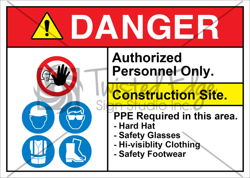 Safety Sign Danger Construction Site Hat Glasses Clothing Footwear