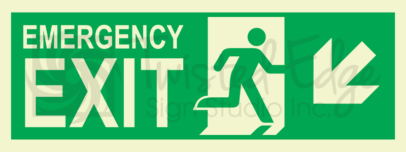 Exit Sign Emergency Exit Left Stairs