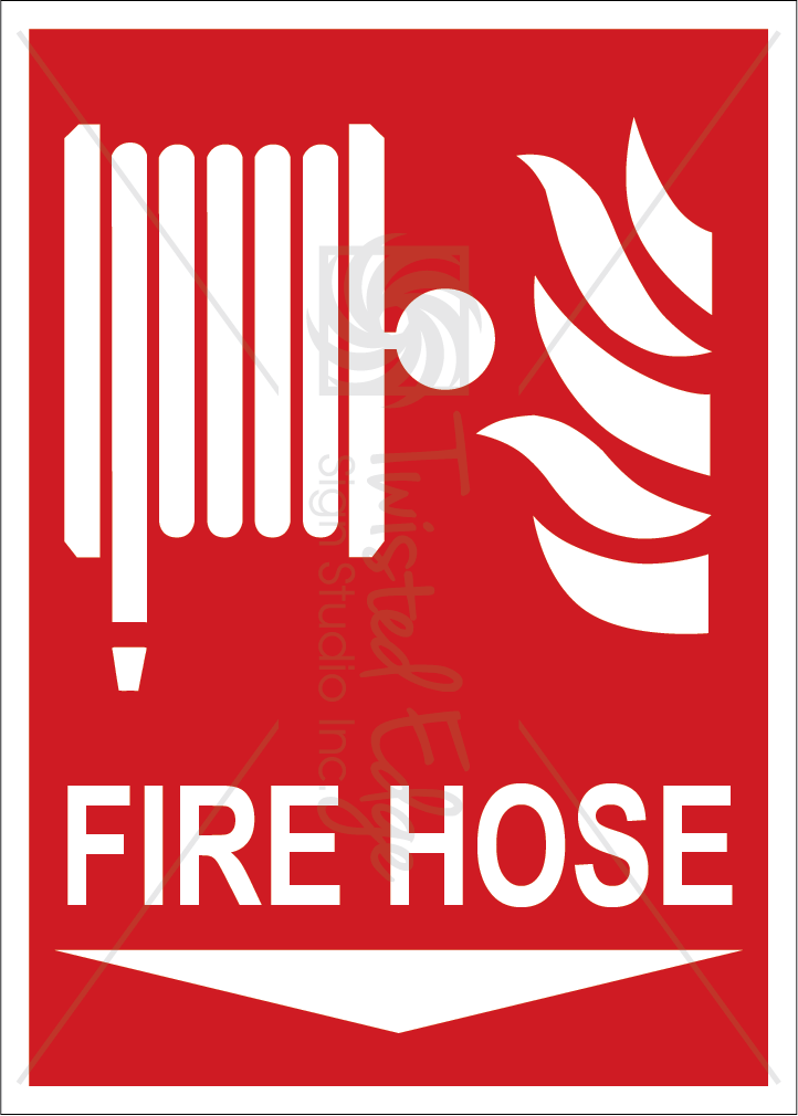 Safety Sign Fire Hose Below