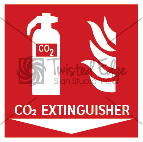 Safety Sign CO2 Extinguisher Below Small