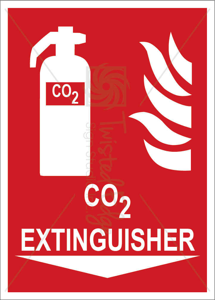Safety Sign CO2 Extinguisher Below