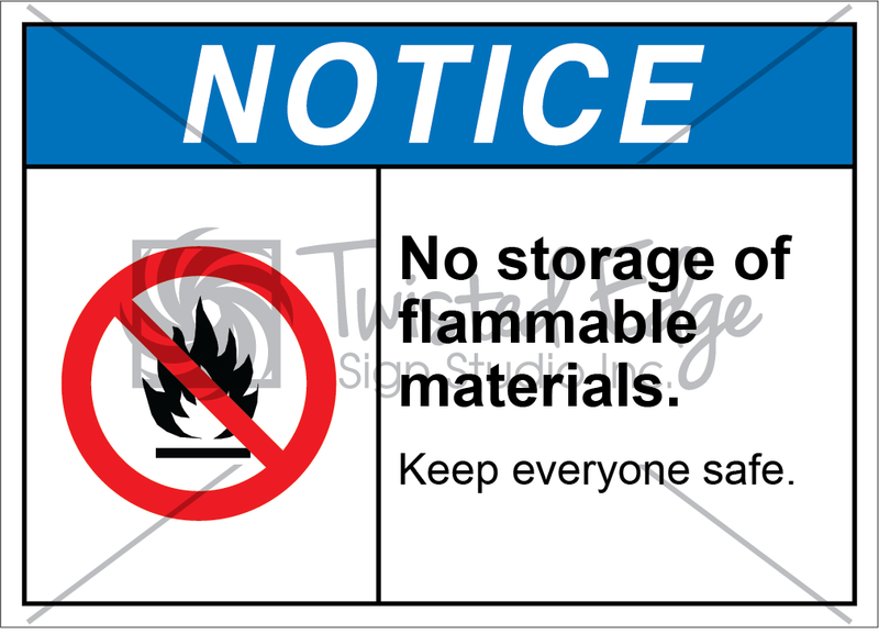 Safety Sign Notice No Storage of Flammable Materials