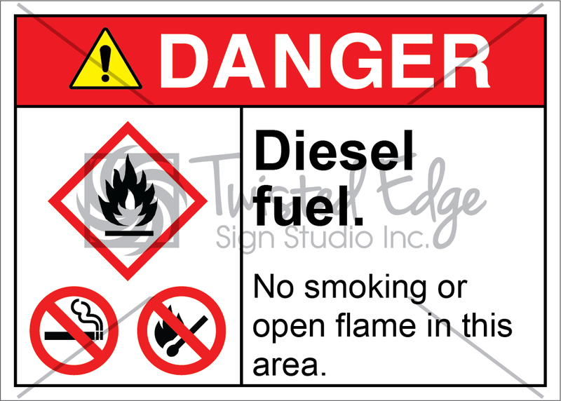 Safety Sign Danger Diesel Fuel No Smoking Open Flame