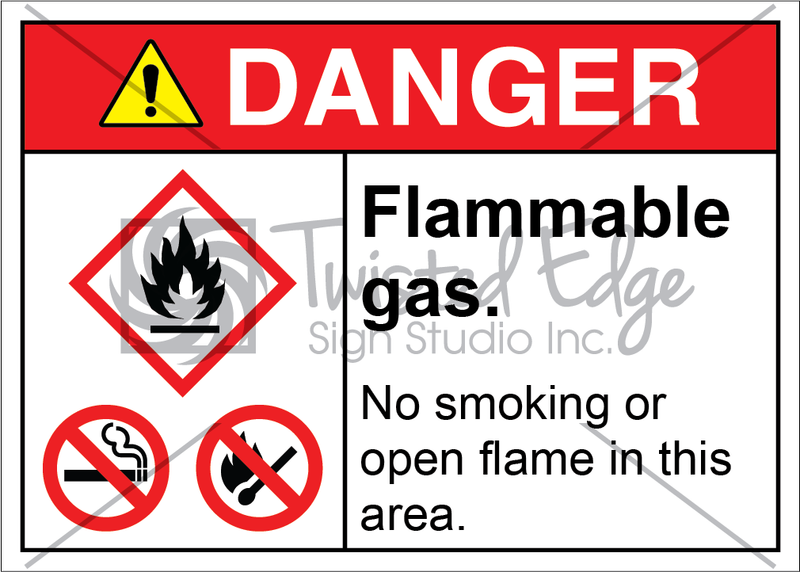Safety Sign Danger Flammable Gas No Smoking Open Flame