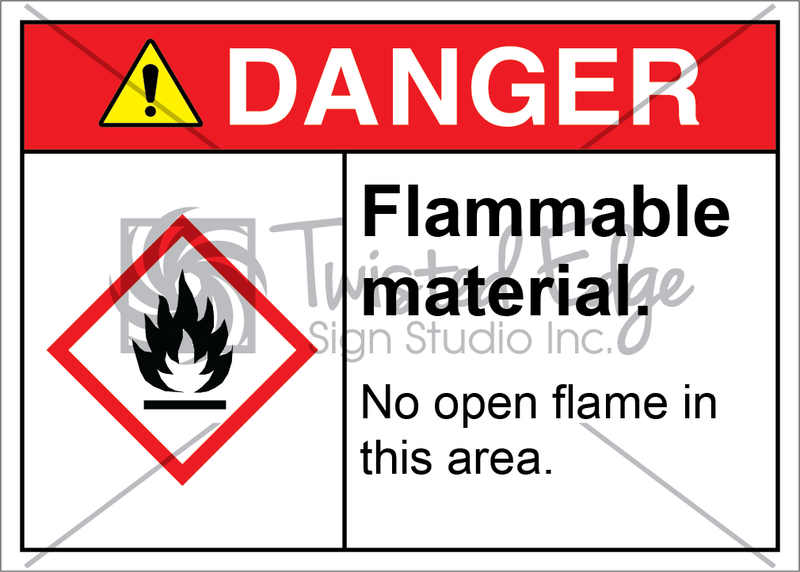 Safety Sign Danger Flammable Material No Open Flame