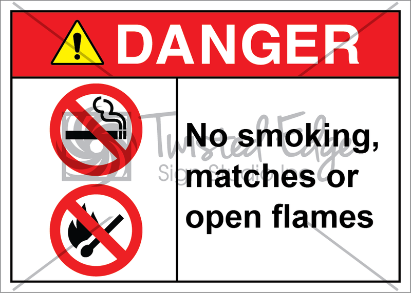 Safety Sign Danger No Smoking Matches Open Flame