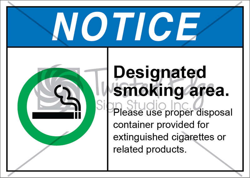 Safety Sign Notice Designated Smoking Area