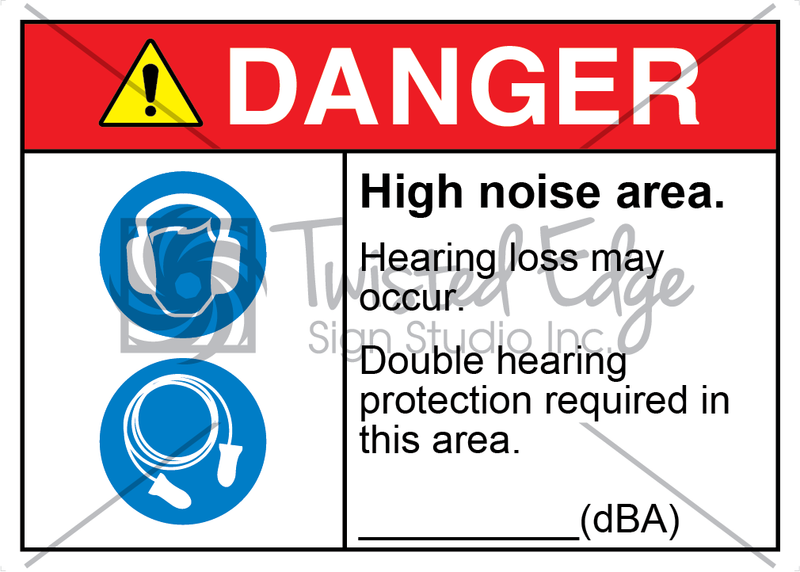 Safety Sign Danger High Noise Area Double Hearing Protection Required