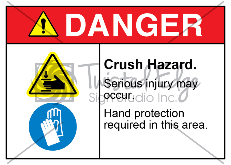 Safety Sign Danger Crush Hazard Hand Protection Required