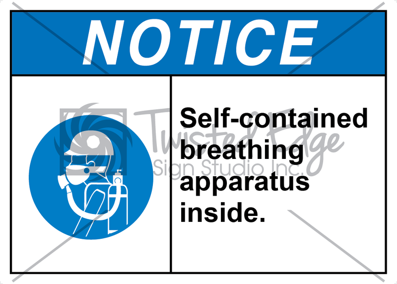 Safety Sign Notice Self-contained Breathing Apparatus Inside