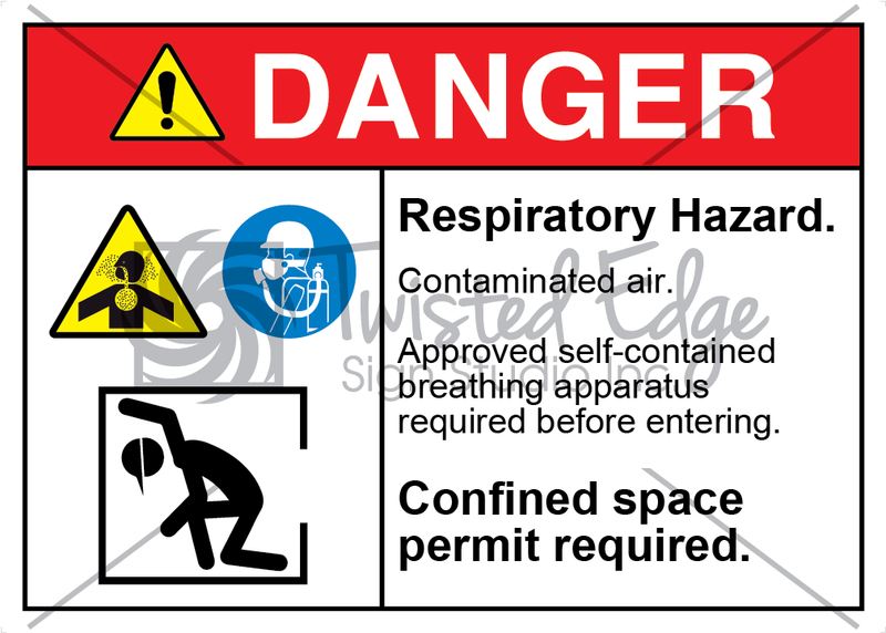 Safety Sign Danger Respiratory Hazard Contaminated Air