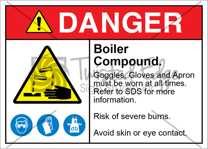 Safety Sign Danger Boiler Compound Goggles Gloves Apron