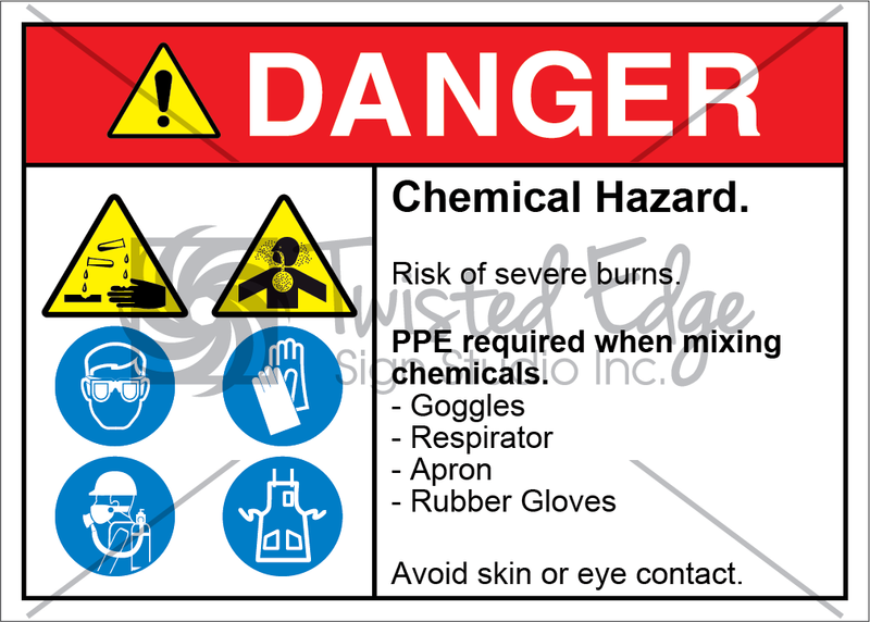 Safety Sign Danger Chemical Hazard Goggles Respirator Apron Rubber Gloves