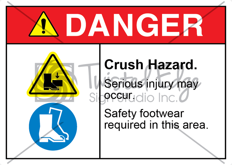 Safety Sign Danger Crush Hazard Safety Footwear Required