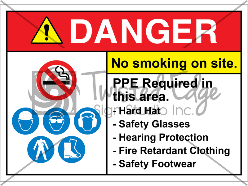 Safety Sign Danger No Smoking On Site PPE Required