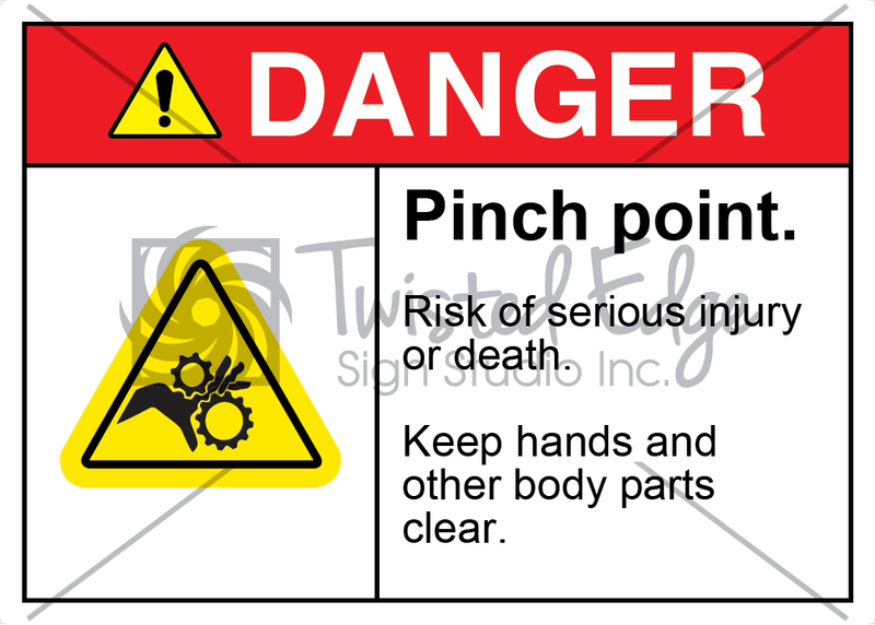 Safety Sign Danger Pinch Point Gear Rollers
