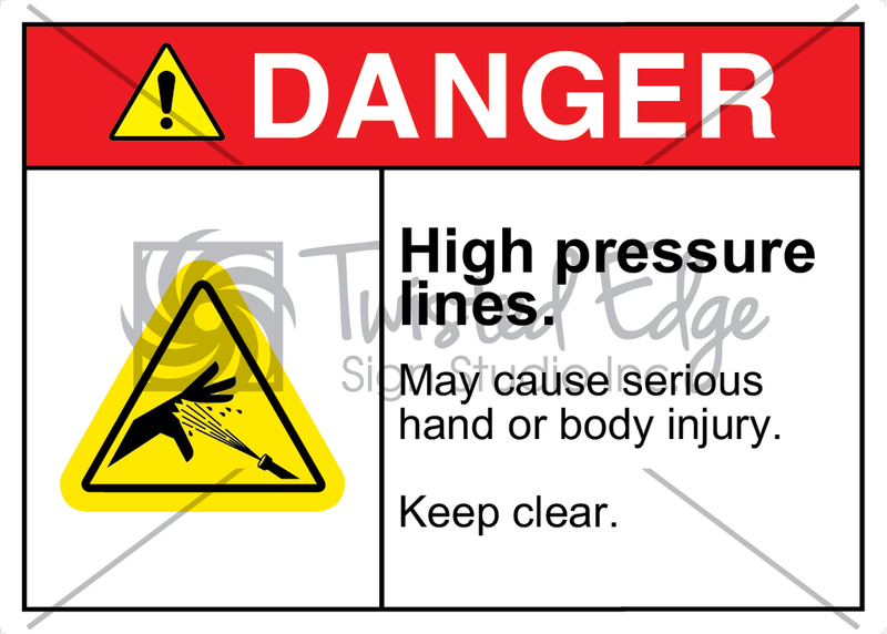 Safety Sign Danger High Pressure Lines