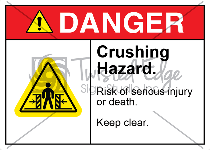 Safety Sign Danger Crushing Hazard