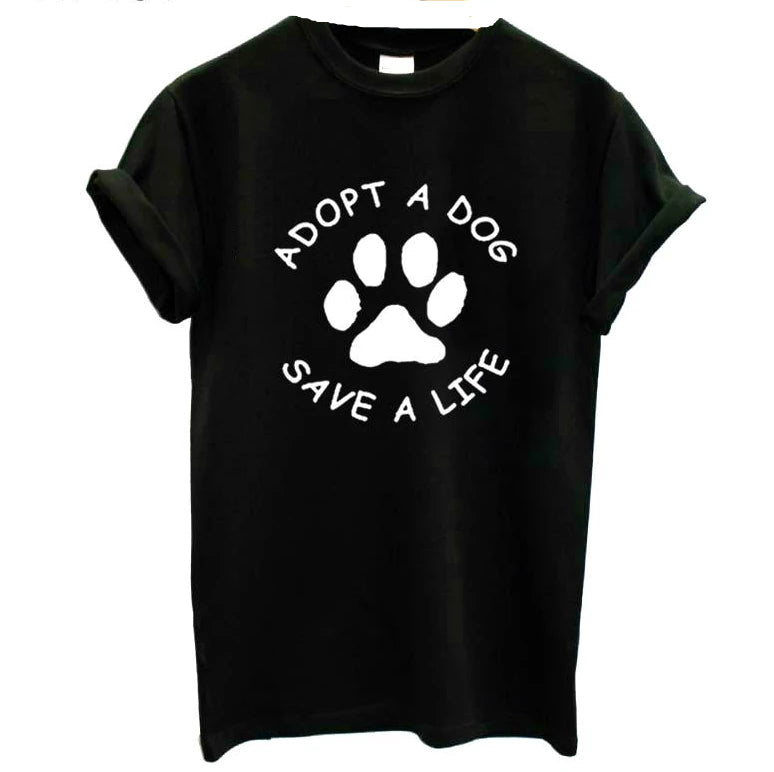 Adopt A Dog Paw Save A Life T Shirt