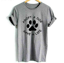 Load image into Gallery viewer, Adopt A Dog Paw Save A Life T Shirt