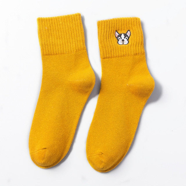 Women Cute Embroidery Sock