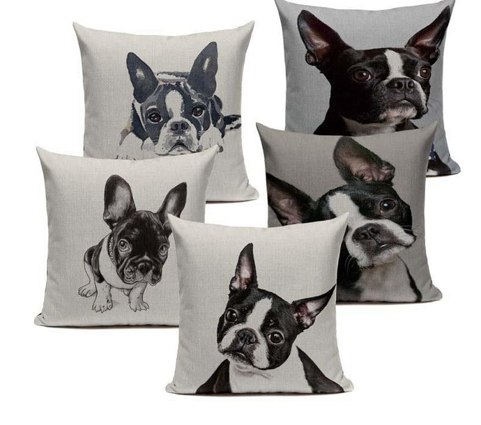Boston Terrier French Bulldog  Luxury Linen Cushion Case