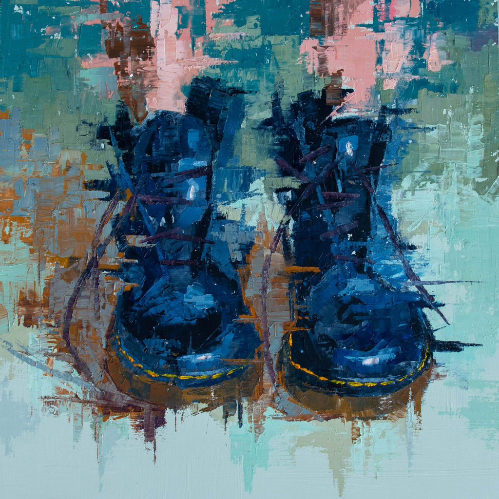 Abstract painting of shoes by artist AMIS